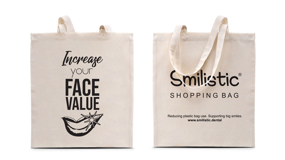 """Increase Your Face Value"" Smilistic® Shopping Bag pamutvászon bevásárlótáska"